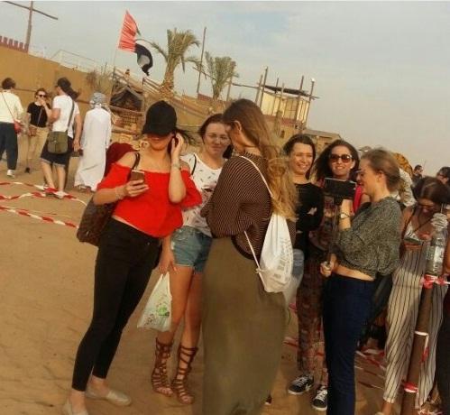 Girls in desert Dubai