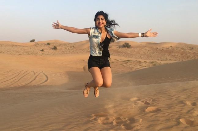 jump in desert